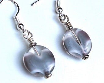 Pale Gray Antique Glass Lollypop Bead Earrings