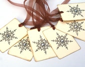 Snowflake Tags, Christmas Gift tags, Embossed Holiday favor tags, vintage inspired, Christmas, Holiday Party