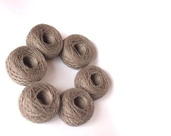 SALE - 6 Balls Natural Linen Yarn, High Quality Linen Yarn, 100% Linen Yarn 300g (10,5 oz),