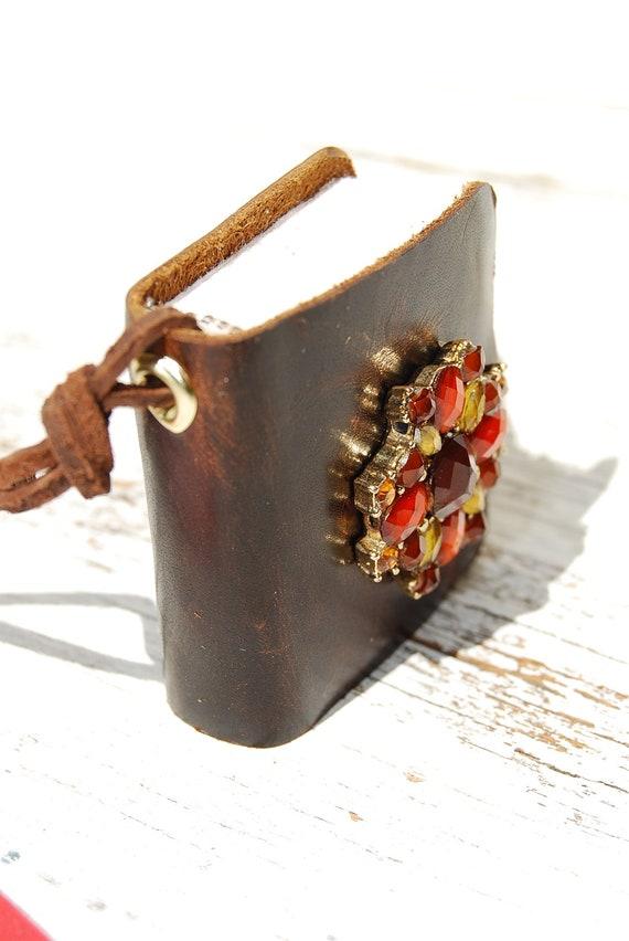 Leather Book Jewelry Pendant Necklace Diary Wildflower Mini Rhinestone Art Journal  (1069)