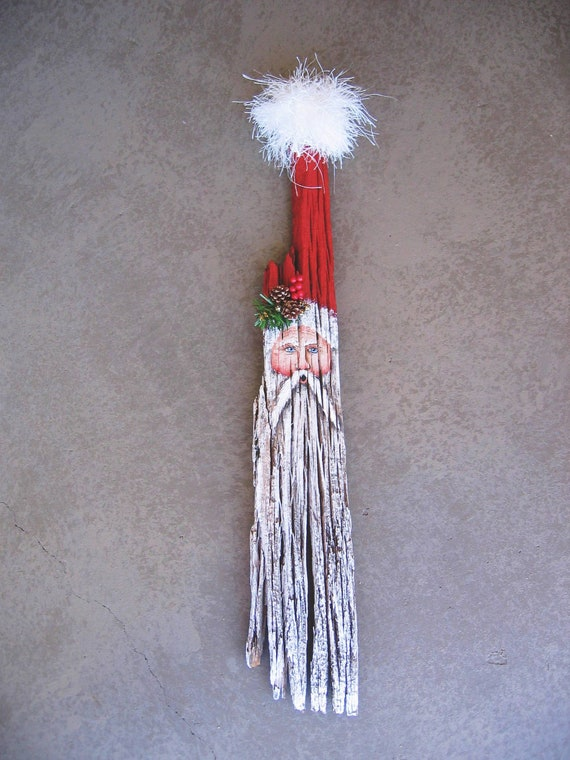 Hand painted vintage rustic plank repurposed into Old World Santa with long beard.