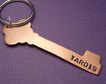Custom ONE SIDED Hand Stamped Copper or Brass Keychain