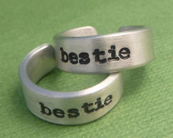 Bestie -  A Pair Hand Stamped Aluminum Rings