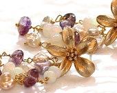 Rubellite Tourmaline Violet Brazilian Keshi Pearl Australian Opal Gold Vermeil Flower Waterfall Dangle Earrings