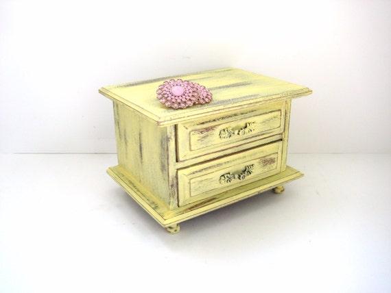 Shabby Chic Jewelry Box - Sunshine Yellow - Handpainted Distressed