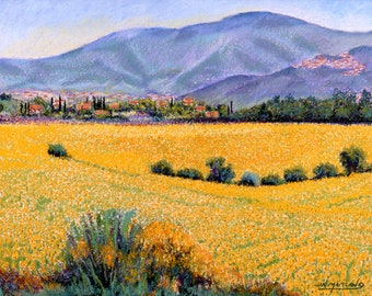 "Fine Art Giclee Print, Italian Mountains and Sunflowers, Italy, Landscape, Archival Print, Pastel Painting By Jan Maitland, 8"" X 10"""