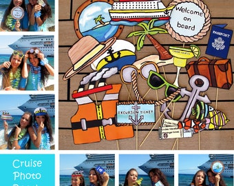 cruise photo booth props - perfect to celebrate a vacation or a tropical themed island party