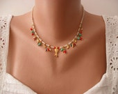 Mother's Day - Unique Necklace - Tulip Necklace with Coral - Turquoise - Glass Beads and Goldplated Items