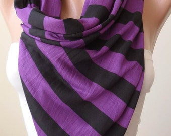 Purple Striped Scarf - Combed Cotton - Summer Colors
