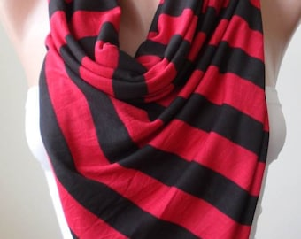 Red and Black Striped Scarf - Combed Cotton - Summer Colors