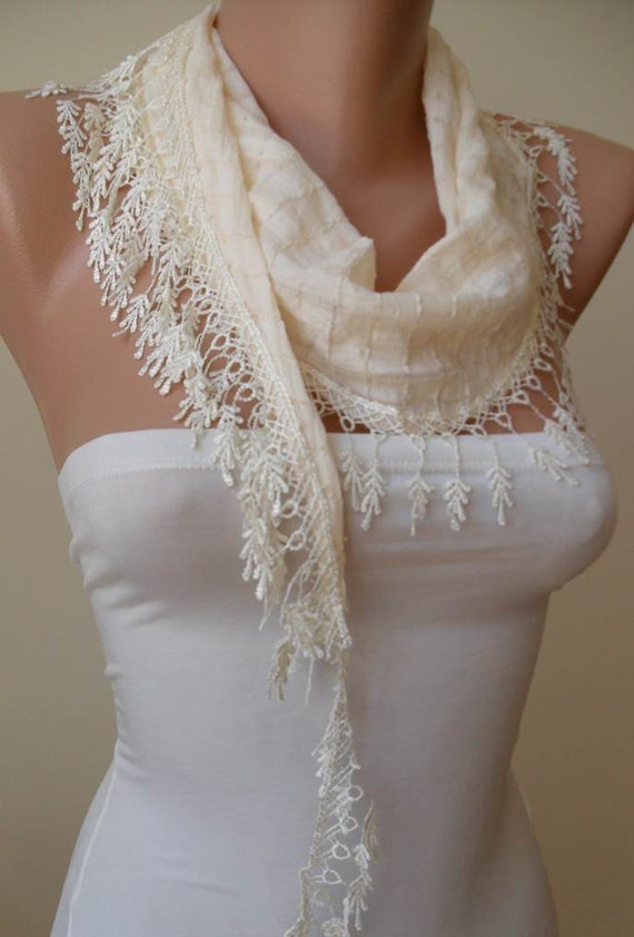 Cotton Scarf - Creamy White  Scarf with Lace Trim Edge