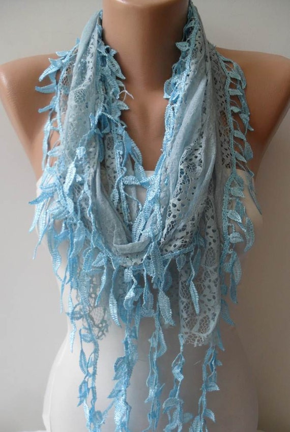 CHRISTMAS, HOLIDAY GIFT, Gifts For Her, Gifts For Women - Gift Scarf - Lace Scarf in Light Blue -  with Trim Edge