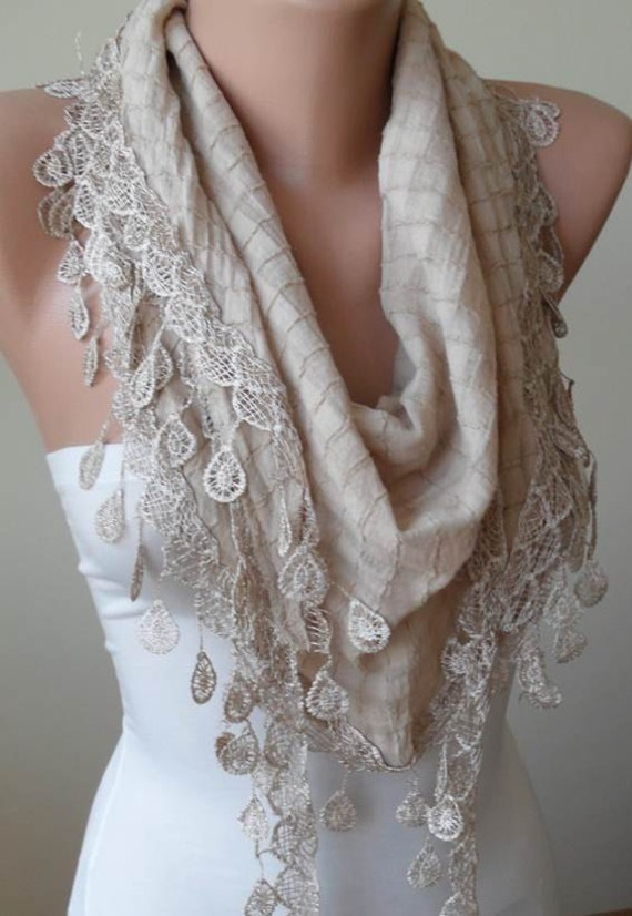 Beige Cotton Scarf with Trim Edge