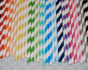 "Paper Straws - 100 stripe straws - drinking straws ""YOU PICK COLORS"" - with Flags / Pendants- See details"