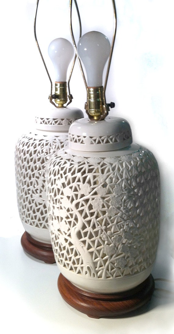 Pair of 50s Blanc de Chine Reticulated Table Lamps