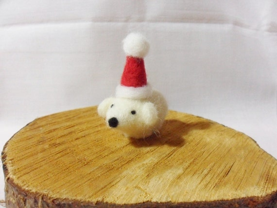 Needle Felted Christmas Polar Bear -  Christmas Ornament - 100% shetland wool