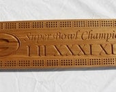 Green Bay Packer Super Bowl Champions cribbage board made from Black Ash