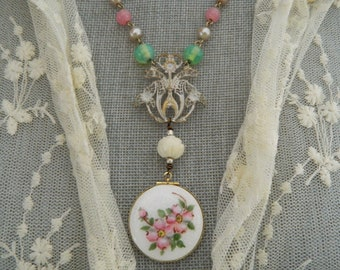 Assemblage Necklace Guilloche Locket
