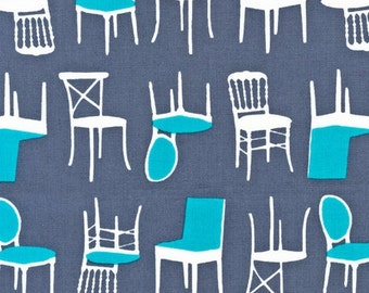 Perfectly Perched by Laurie Wisbrun for Robert Kaufman: Chairs in Steel AWN-12851-185 1 Yard Cut