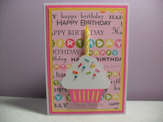 Handmade Birthday Card - Cupcake Card with Real Candle - Pink/Yellow