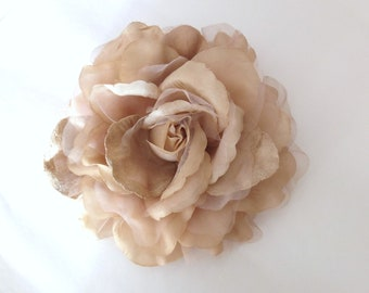 Large Organza Flower Brooch, VINTAGE CREAMY ALMOND, Sash Flower, Headpiece, Dress accessories, Hair Fascinator