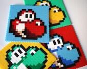 Yoshi Coaster Set. 4 Pop Art Mario Coaster Set.