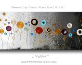 "Abstract painting on canvas, modern contemporary art, 59"" x 20"", wall decoration, textured, white, silver, gold"