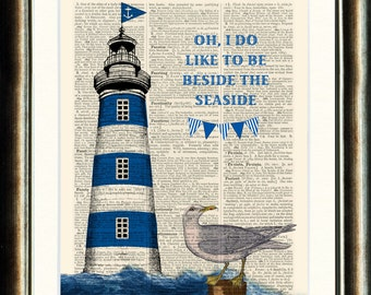 Lighthouse- vintage image printed on a page from a late 1800s Dictionary Buy 3 get 1 FREE