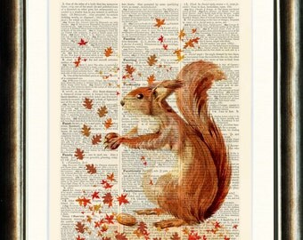 Fall/Autumn Squirrel Upcycled print on a vintage book page from a late 1800s Dictionary Buy 3 get 1 FREE