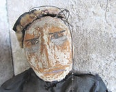 RESERVED Antique Folk Art Marionette / Stringed Puppet / Paper Mache / Papier Mache Face / AWESOME / epsteam