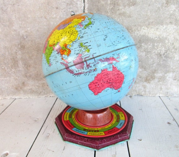 Colorful Vintage Tin Globe on Base / Months of Year / Seasons / Zodiac / Rustic Shabby Industrial Man Cave Decor / epsteam