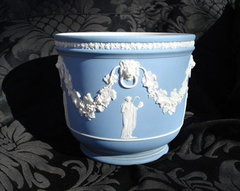 Antique 19th Century Wedgwood Light Blue Dipped Large Jardiniere