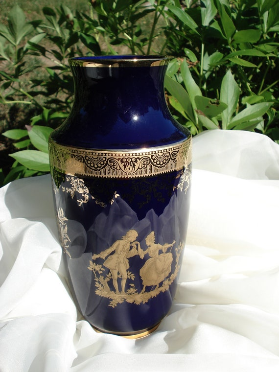 Items Similar To Limoges Cobalt Blue Vase 9 And Nice Shape On Etsy