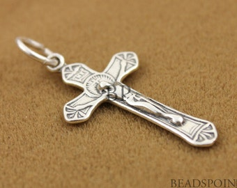 Sterling Silver Medium Crucifix Cross Charm / Pendant with Open Jump Ring, Spiritual Religious Component Finding,  (SS/CH20/CR1)