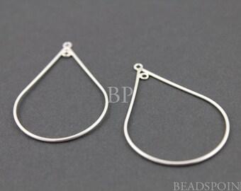 Sterling Silver Medium Teardrop Shape Open Chandelier Finding w/ Inside Ring, Lovely Jewelry Components for Earrings, 1 PAIR (SS/710/20x30)