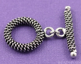 Bali Sterling Silver Handmade Twisted Coiled Wire Toggle Clasp, Oxidized, Great Accent for Chunky Beaded Jewelry, 1 Piece (BA-5522)