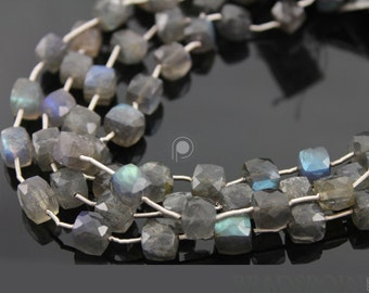Natural '' NO TREATMENT'' Grey Labradorite Large Faceted Cubes, AAA Quality Gems 7.5 to 8mm, 1 Strand (LAB8CUBE)