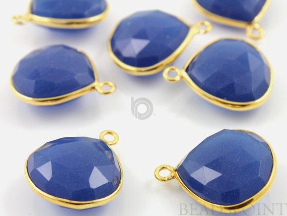 Natural Sapphire Blue Chalcedony, Bezel Heart Shape Gemstone Component,  Gold Vermeil,  20mm, 1 Piece, (BZC7017)