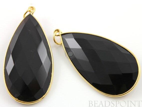 2 Inches Long, Brazilian Black Onyx, Bezel  Pear Shape Component,  Gold Vermeil,    25x45mm, 1 Piece, (BZC7326)