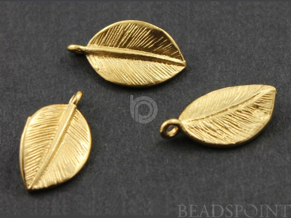 24K Gold Vermeil Over Sterling Silver, Small Single Leaf Charm / Pendant,  Jewelry Component Finding,1 PAIR   (VM/CH4/CR27)