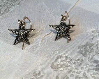 Vintage Antique Brass Filigree Star Earrings for Girls Tweens Teens