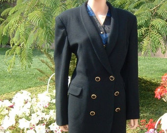 JONES NEW YORK Black Wool Lined Jacket Blazer with Shawl Collar Women's 1990