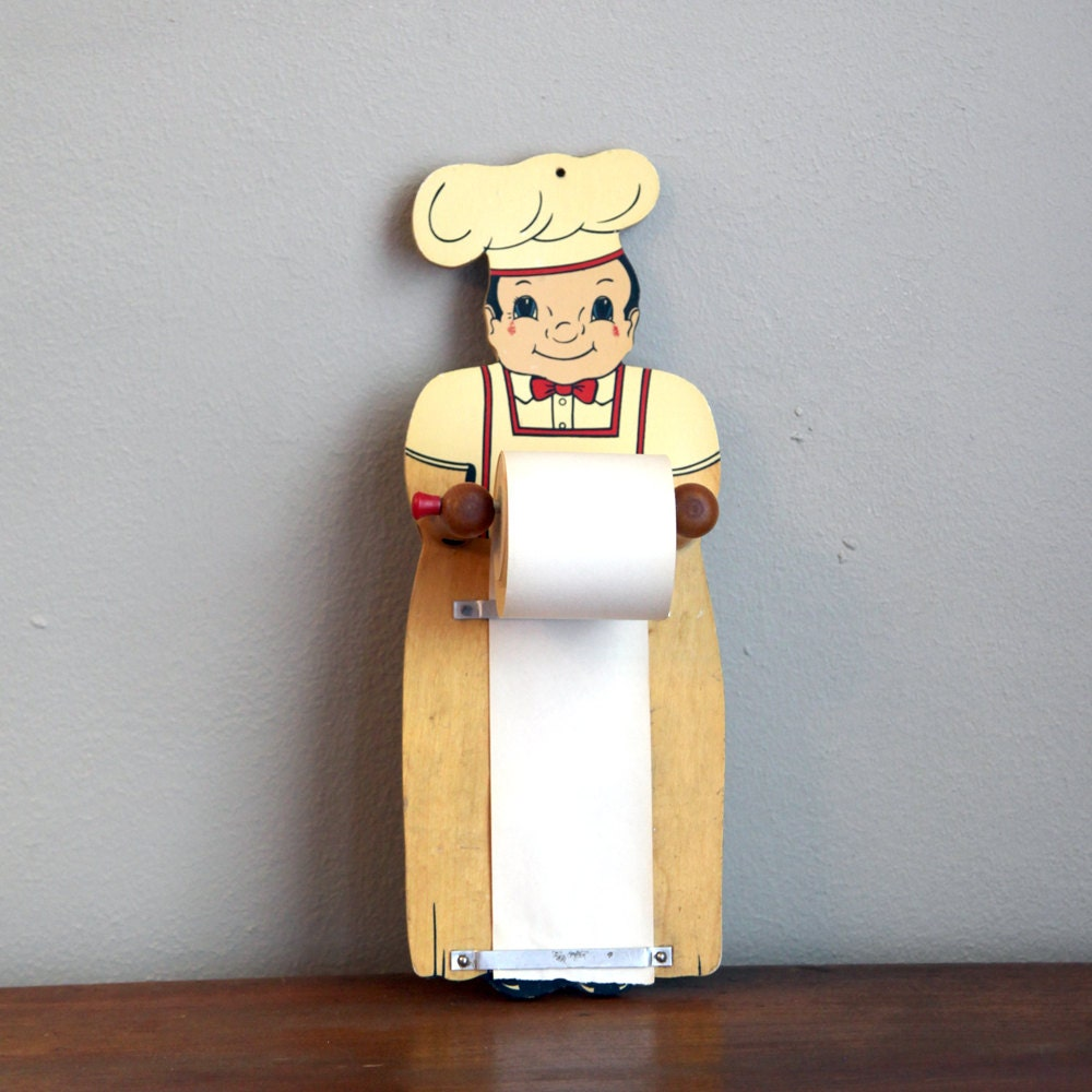 Vintage Chef Grocery List Note Holder With Paper Roll