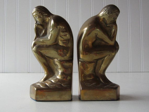 Brass Bookends, The Thinker,  Brass figurine, Set of Two