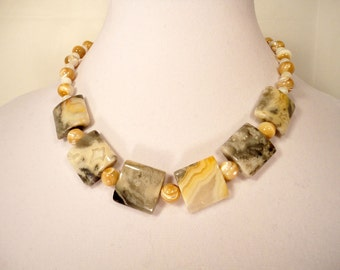 Crazy Jasper and Natural Mother of Pearl Beads