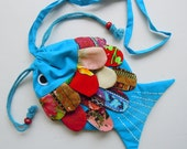New Handmade Fish Patchwork Shoulder Bag Purse 100% Cotton Turquoise