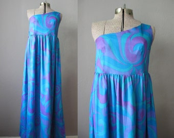 1960s Vintage Dress Blue Purple Chiffon Evening Gown Pucci Style Empire Waist One Shoulder Dress / Small XS