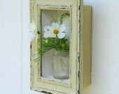 picture box vase - distressed frame and mini vintage bottle from Hawaii