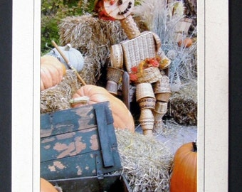 Wicker Scarecrow and Pumpkins Greeting/Note Card