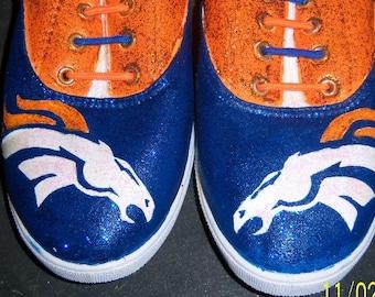 Hand painted Bling Bling Denver Bronco Shoes